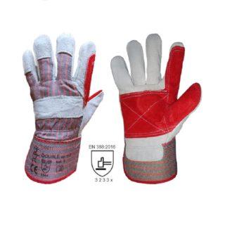 DOUBLE kombinované pracovní rukavice ze štípené hověziny - foto 1