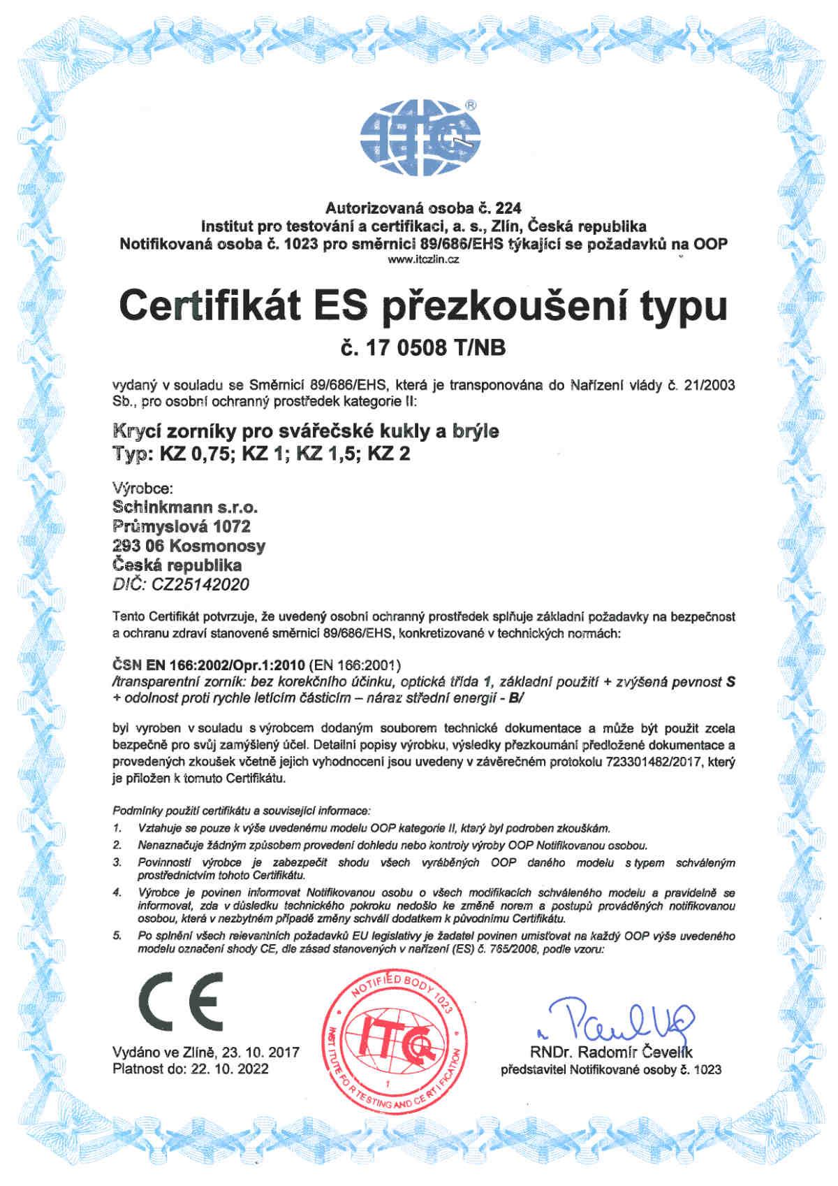 Certifikát ES přezkoušení typu v souladu se směrnicí 89_686_EHS