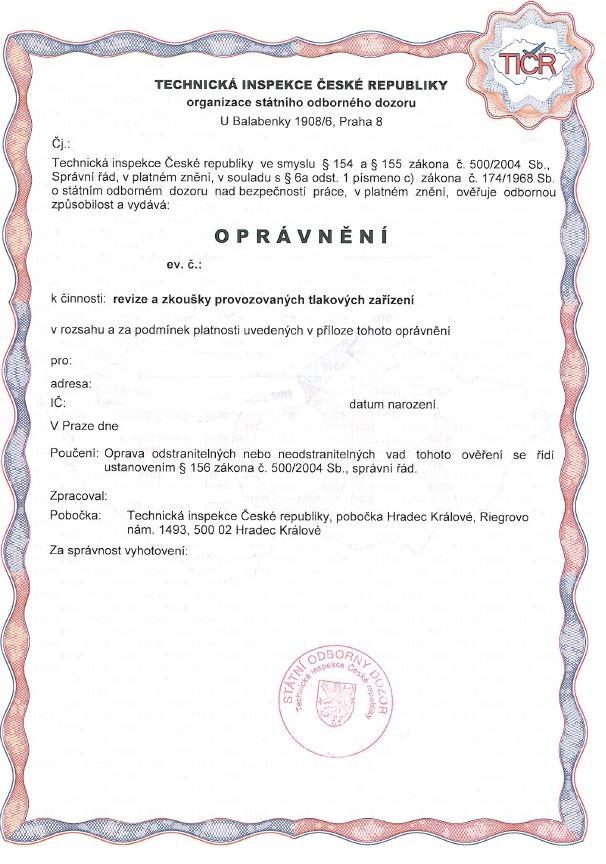Oprávnění Technická inspekce ČR - foto 1